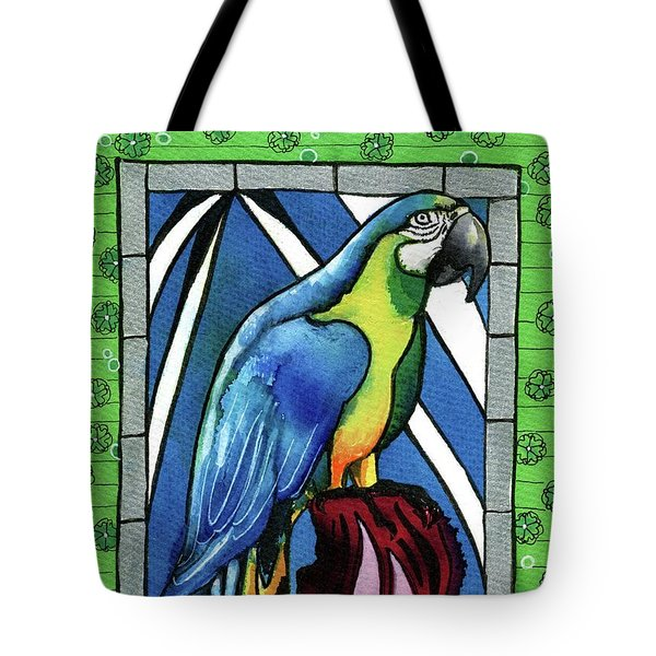 Tote Bag featuring the painting In Love With A Macaw by Dora Hathazi Mendes