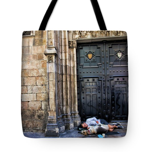 In Need Boy And Dog Barcelona  Tote Bag