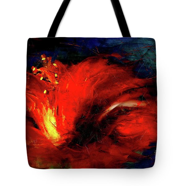 In Red Abstract Hibiscus Tote Bag