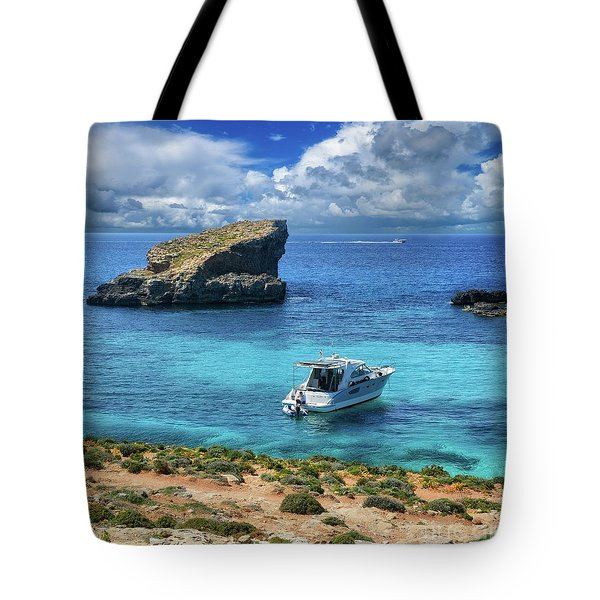 In The Beautiful Island Of Comino Tote Bag by Stephan Grixti