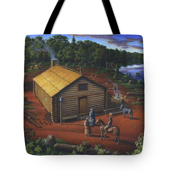 In The Beginning - University Of Notre Dame Chapel - Indian Chapel - Log Cabin Landscape Painting Tote Bag