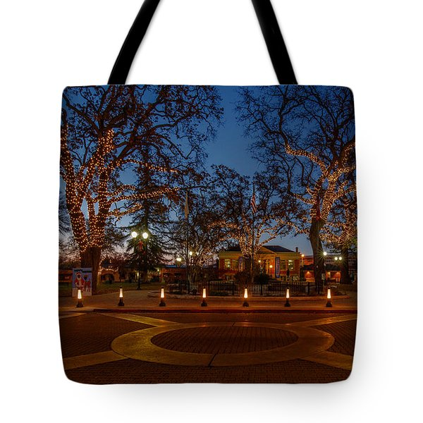 In The Center Of Town At The Crack Of Dawn Tote Bag by Tim Bryan