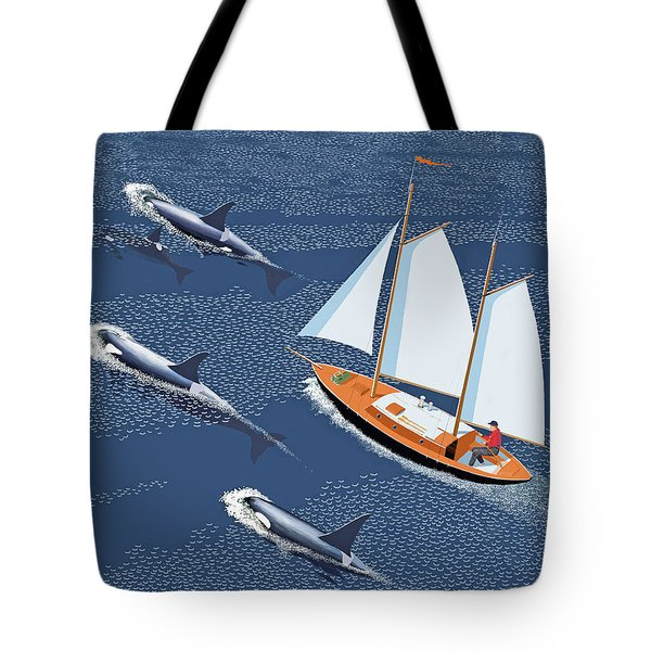 Tote Bag featuring the digital art In The Company Of Whales by Gary Giacomelli
