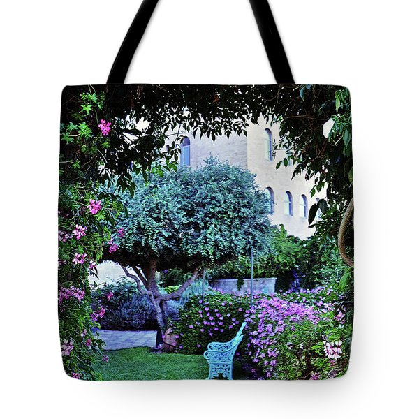 In The Garden At Mount Zion Hotel  Tote Bag