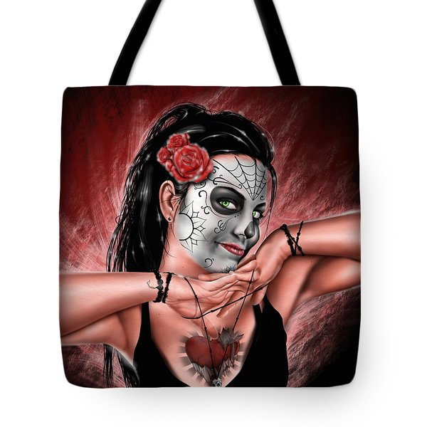 Tote Bag featuring the painting In The Hands Of Death by Pete Tapang