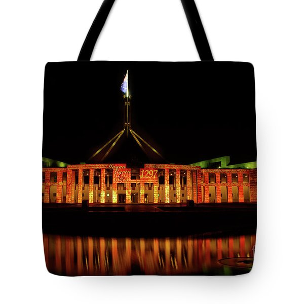 Tote Bag featuring the photograph      In The Light Of Magna Carta by Werner Padarin