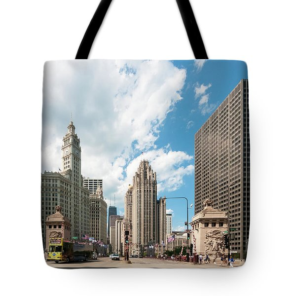 In The Middle Of Wacker And Michigan Tote Bag