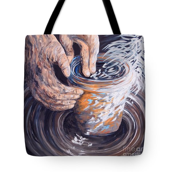 Tote Bag featuring the painting In The Potter's Hands by Eloise Schneider