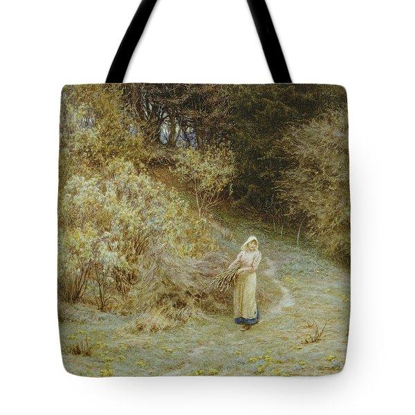 In The Primrose Wood Tote Bag by Helen Allingham