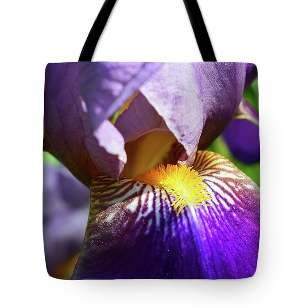 In The Purple Iris Tote Bag
