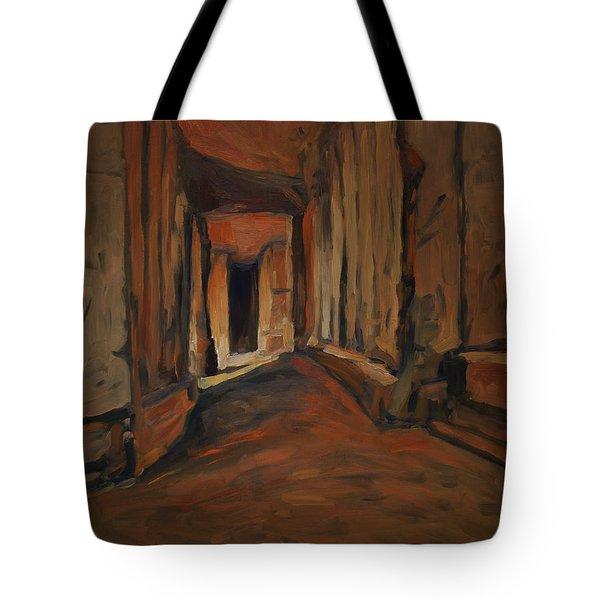 Tote Bag featuring the painting l'Origine de Maestricht Sint Pieter Maastricht  by Nop Briex