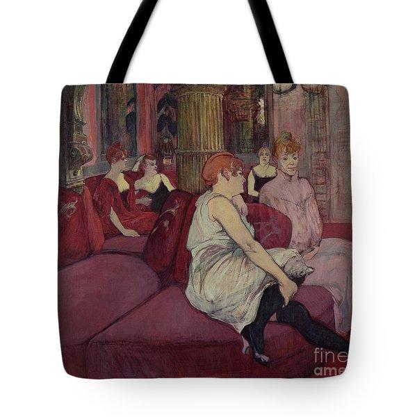 In The Salon At The Rue Des Moulins Tote Bag by Henri de Toulouse-Lautrec