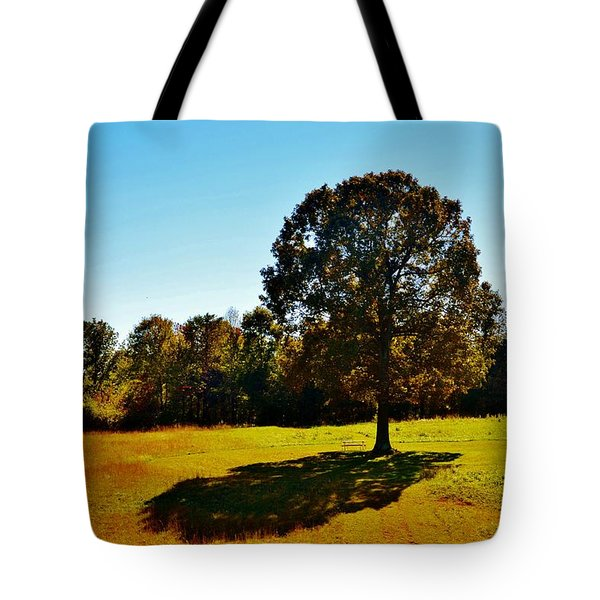 In The Shadow Of A Tree Tote Bag