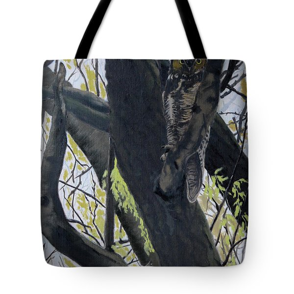 In The Shadow-ojibway Great Horn Owl Tote Bag