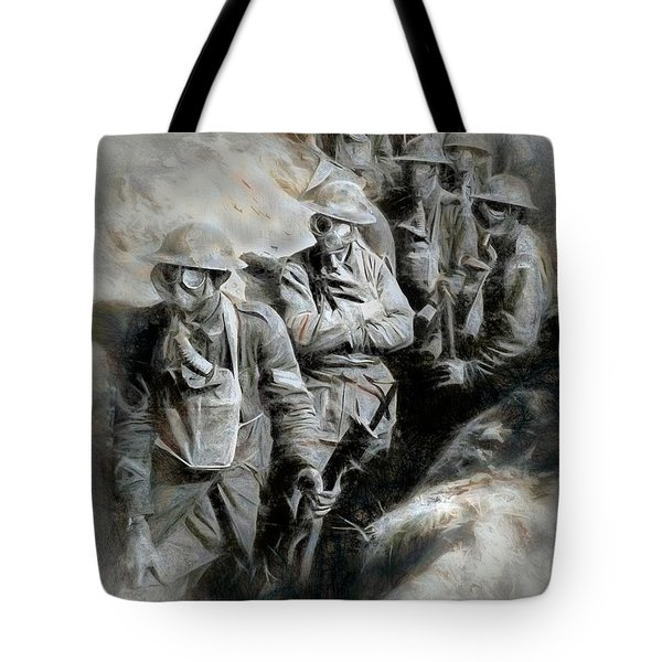 Tote Bag featuring the digital art In The Trenches by Pennie  McCracken