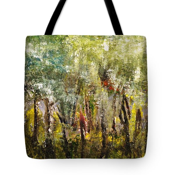 Tote Bag featuring the painting In The Woods by Evelina Popilian