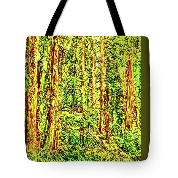 Tote Bag featuring the digital art In The Woods - Forest Trees Vashon Island Washington by Joel Bruce Wallach