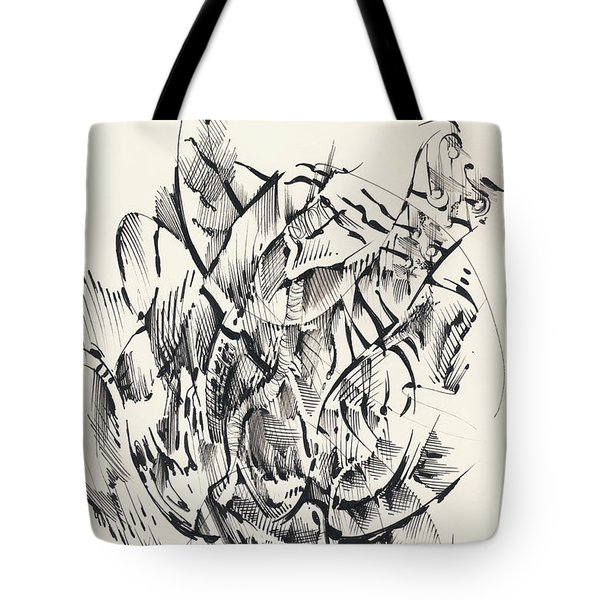 Tote Bag featuring the drawing In Vain by Keith A Link