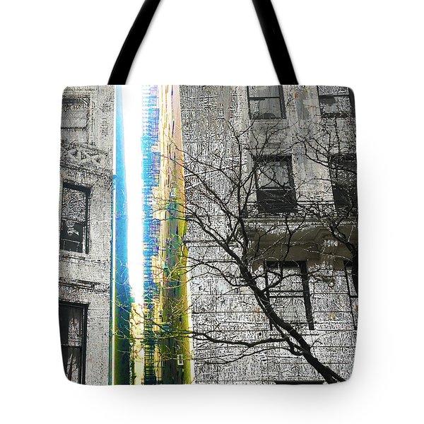 Tote Bag featuring the mixed media Inbetween  by Tony Rubino