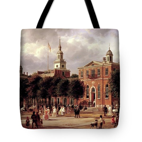 Tote Bag featuring the painting Independence Hall by Ferdinand Richardt