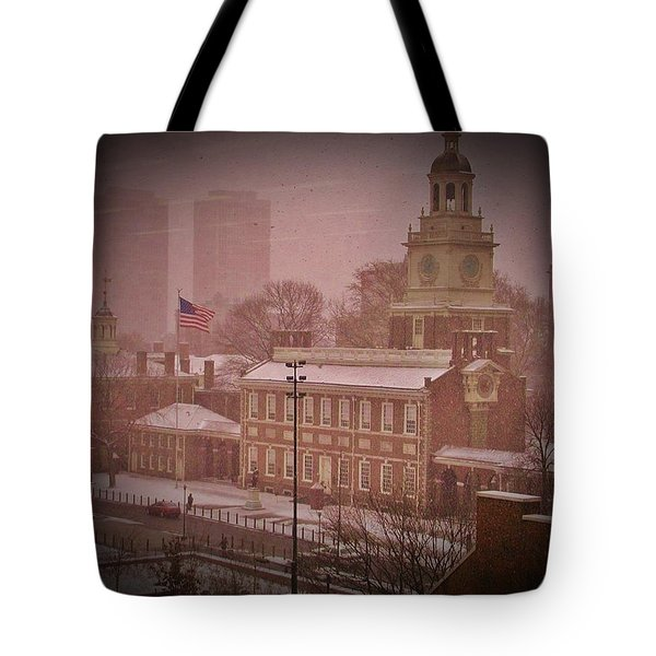 Independence Hall In The Snow Tote Bag by Bill Cannon