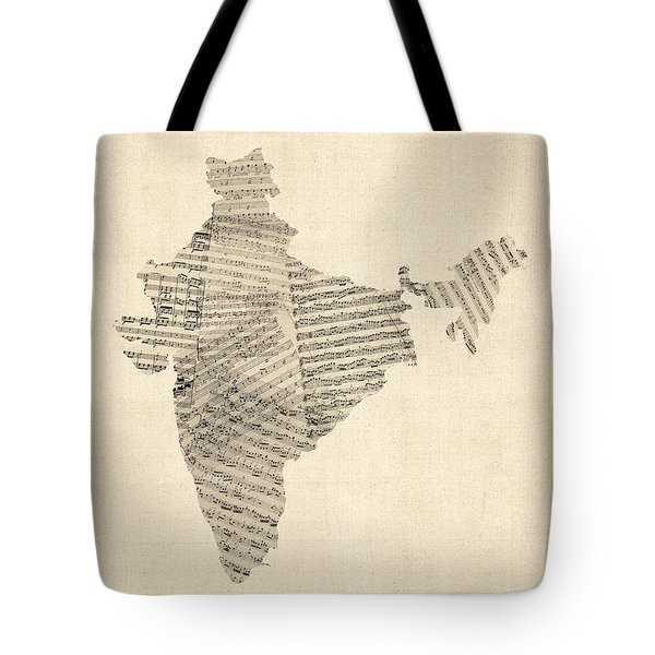 India Map, Old Sheet Music Map Of India Tote Bag