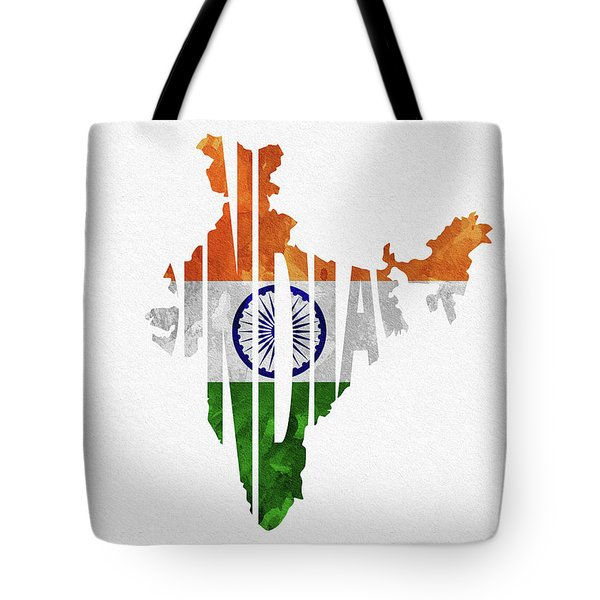 India Typographic Map Flag Tote Bag