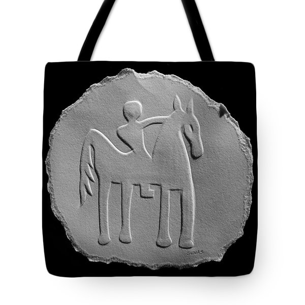 Tote Bag featuring the relief Indian Art - Horse Rider by Suhas Tavkar
