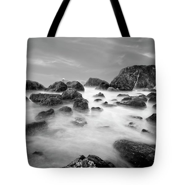 Indian Beach, Ecola State Park, Oregon, In Black And White Tote Bag