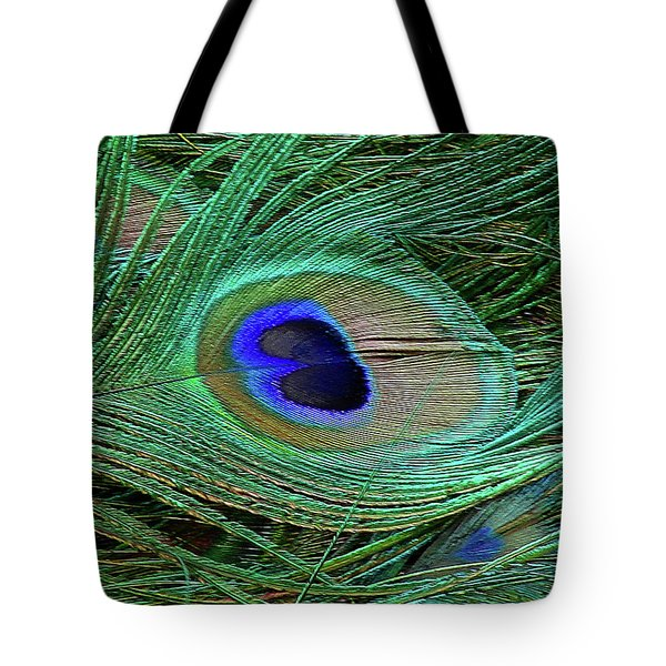 Indian Blue Peacock Macro Tote Bag by Blair Wainman