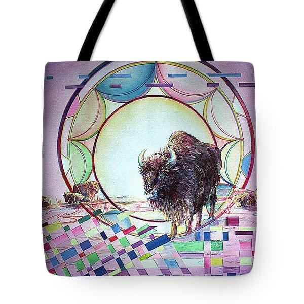 Indian Buffalo Circle Tote Bag