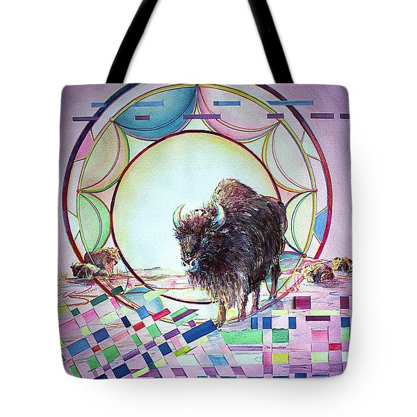 Indian Buffalo Circle Tote Bag