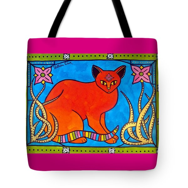 Indian Cat With Lilies Tote Bag