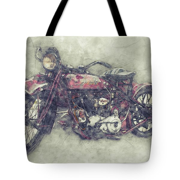 Indian Chief 1 - 1922 - Vintage Motorcycle Poster - Automotive Art Tote Bag