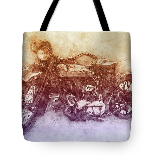 Indian Chief 2 - 1922 - Vintage Motorcycle Poster - Automotive Art Tote Bag