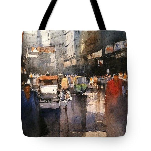 Indian City Avenue Watercolor Tote Bag