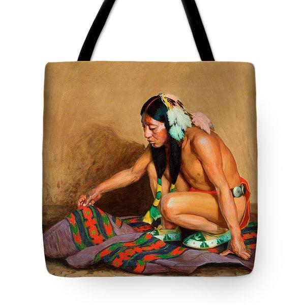 Indian Examining A Blanket Tote Bag