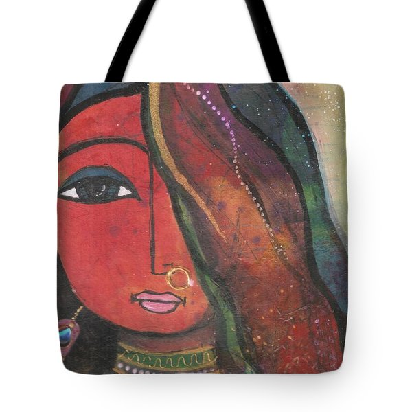 Indian Girl With Nose Ring Tote Bag
