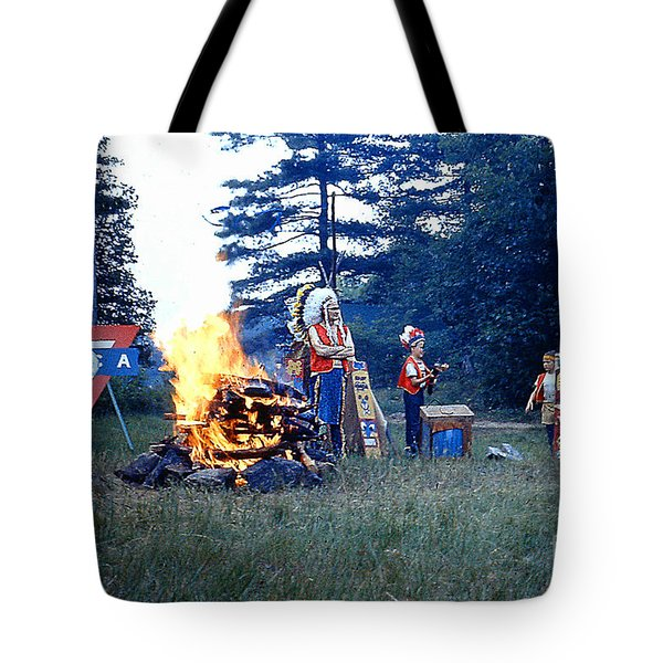 Tote Bag featuring the photograph Indian Guide Pow Wow At Lake George N. by Merton Allen