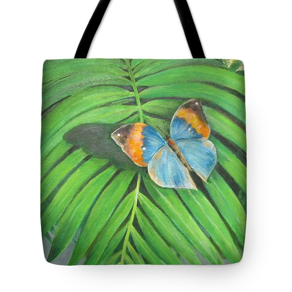 Tote Bag featuring the painting Indian Head Butterfly by Oz Freedgood