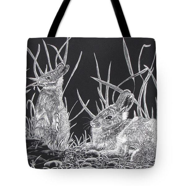 Tote Bag featuring the mixed media Indian Ink Rabbits by Kevin F Heuman