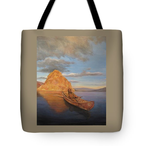 Indian On Lake Pyramid Tote Bag