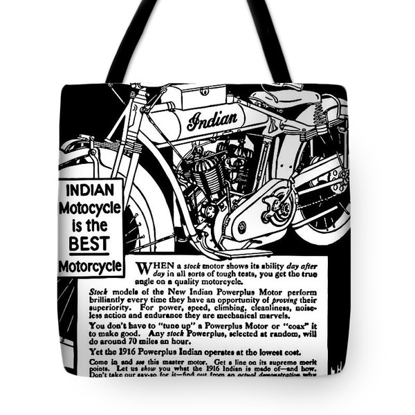 Tote Bag featuring the digital art Indian Power Plus Motocycle Ad 1916 by Daniel Hagerman