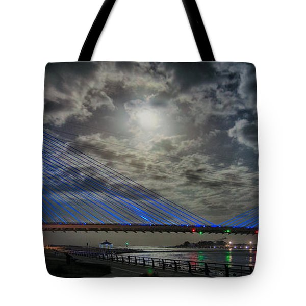 Indian River Bridge Moonlight Panorama Tote Bag