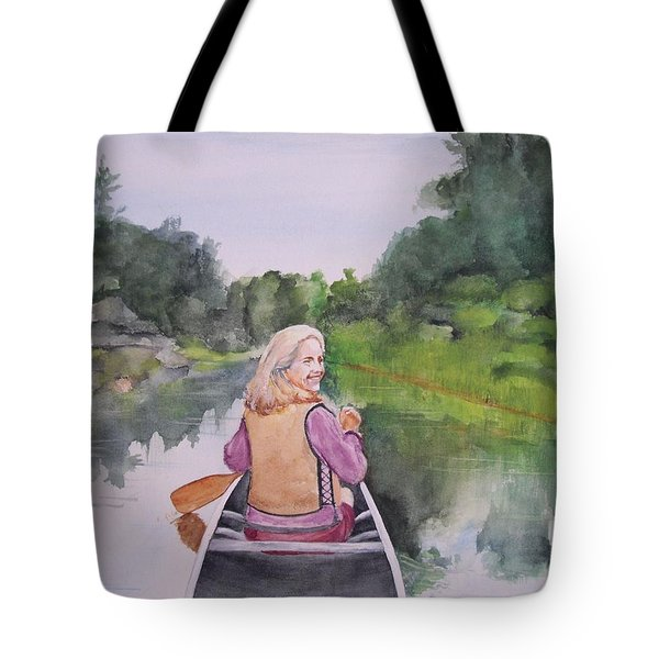 Tote Bag featuring the painting Indian River by Ellen Canfield