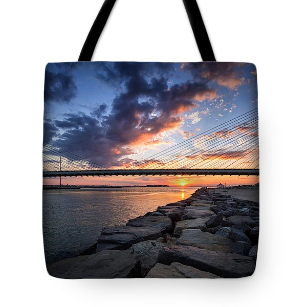 Indian River Inlet And Bay Sunset Tote Bag