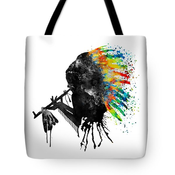 Indian Silhouette With Colorful Headdress Tote Bag