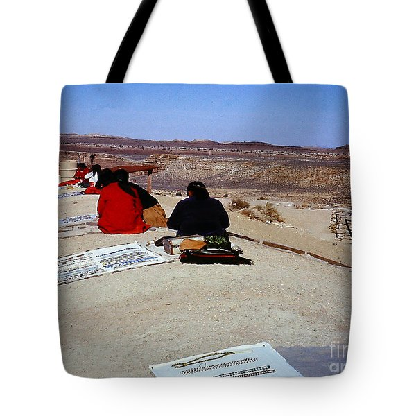 Tote Bag featuring the photograph Indian Squaws Selling Bead Jewlery In Arizona by Merton Allen