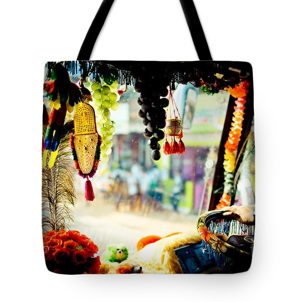 Indian Street From Window In The Bus Kerala India Tote Bag