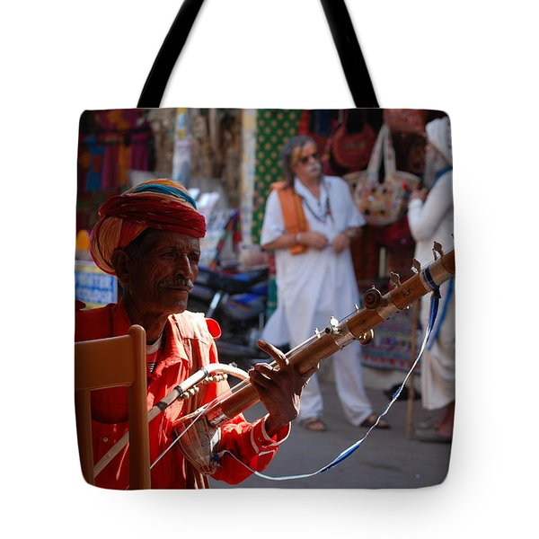 Indian Street Musician Tote Bag